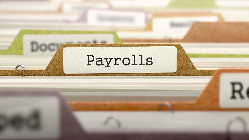 Payrolls - Folder Register Name in Directory. Colored, Blurred Image. Closeup View. 3D Render.jpeg